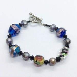 Sterling Silver Glass Bead Genuine Pearl Bracelet